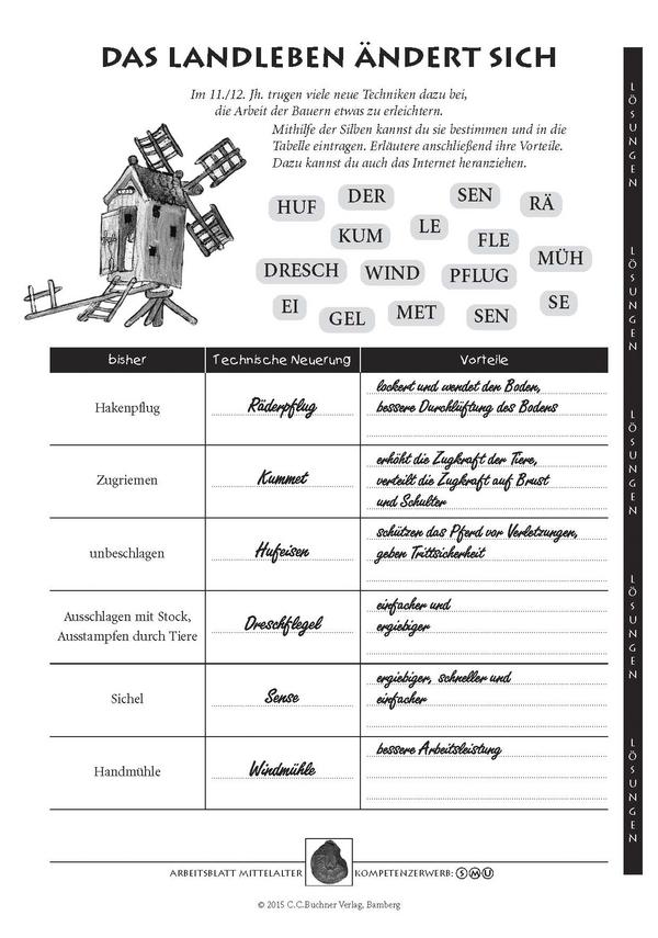 Mittelalter, Aus: Arbeitsblätter für den kompetenzorientierten ...